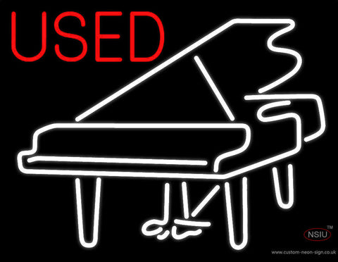 White Piano Logo Red Used Neon Sign