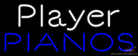 White Player Blue Pianos Block Neon Sign