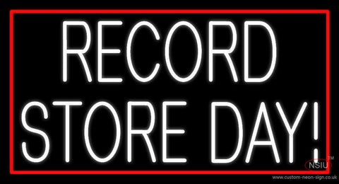 White Record Store Day Block Red Border  Neon Sign
