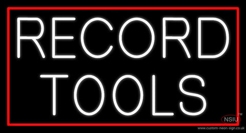 White Record Tools Neon Sign