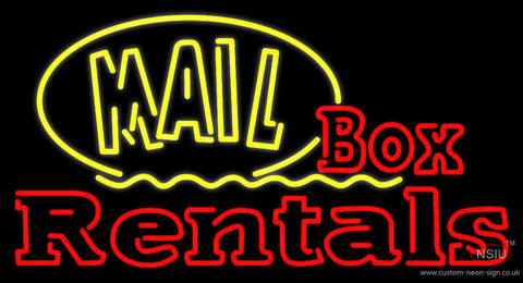 Yellow Mail Block Box Rentals Neon Sign