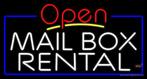 Block Mail Box Rental Blue Border With Open  Real Neon Glass Tube Neon Sign