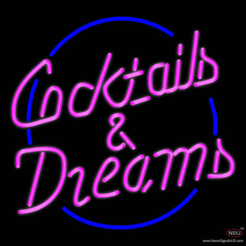Cocktails and Dreams Real Neon Glass Tube Neon Sign