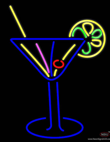 Stylized Cocktail Or Martini Glass With Lime Slice Real Neon Glass Tube Neon Sign