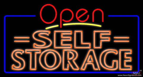 Orange Self Storage Block With Open  Real Neon Glass Tube Neon Sign