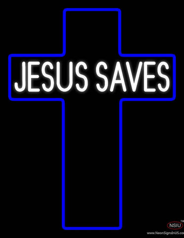 White Jesus Saves Real Neon Glass Tube Neon Sign