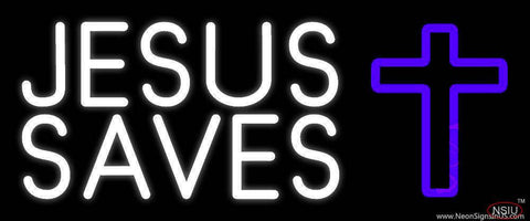 White Jesus Saves Purple  Cross Real Neon Glass Tube Neon Sign
