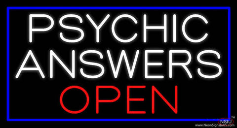 White Psychic Answers Red Open Blue Border Real Neon Glass Tube Neon Sign