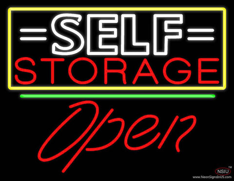 White Self Storage Block With Open  Real Neon Glass Tube Neon Sign