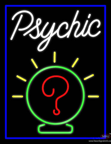 White Psychic Blue Border Real Neon Glass Tube Neon Sign