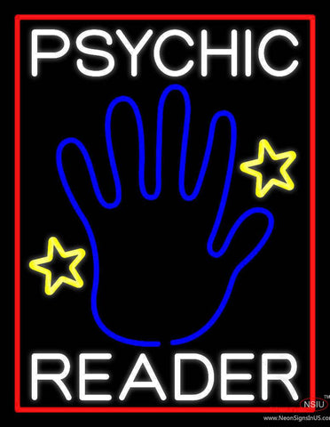 White Psychic Reader With Blue Palm Real Neon Glass Tube Neon Sign