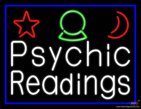 White Psychic Readings And Border Real Neon Glass Tube Neon Sign