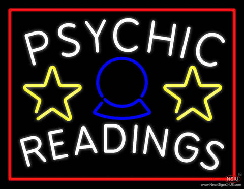 White Psychic Readings Red Border Real Neon Glass Tube Neon Sign