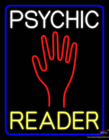 White Psychic Yellow Reader Blue Border Real Neon Glass Tube Neon Sign