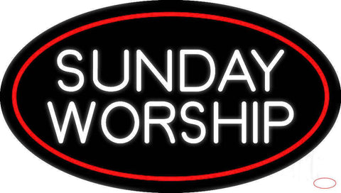 White Sunday Worship Real Neon Glass Tube Neon Sign