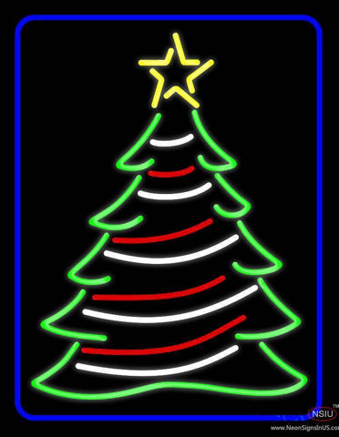 Blue Border Decorative Christmas Tree Real Neon Glass Tube Neon Sign