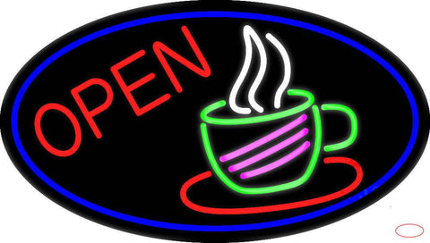 Open Coffee Cup Real Neon Glass Tube Neon Sign