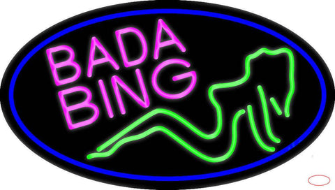 Bada Bing Girl With Blue Border Real Neon Glass Tube Neon Sign