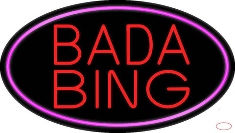 Red Bada Bing With Pink Border Club Real Neon Glass Tube Neon Sign