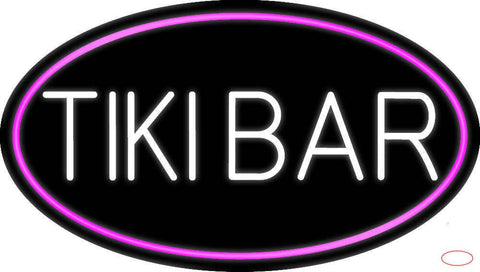 White Tiki Bar Oval With Pink Border Real Neon Glass Tube Neon Sign