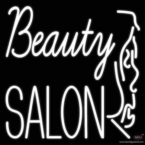 White Beauty Salon With Girl Real Neon Glass Tube Neon Sign