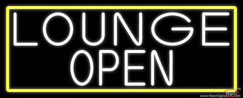 White Lounge Open With Yellow Border Real Neon Glass Tube Neon Sign