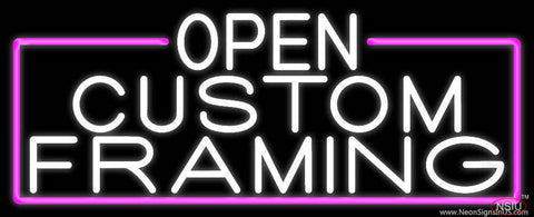 White Open Custom Framing With Pink Border Real Neon Glass Tube Neon Sign