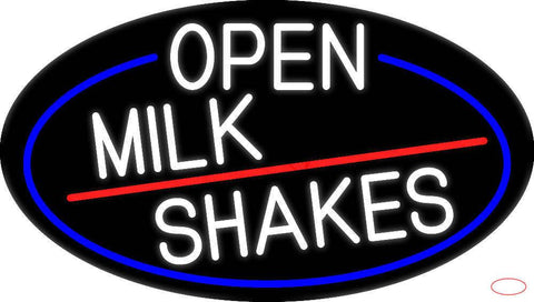 White Open Milk Shakes Oval With Blue Border Real Neon Glass Tube Neon Sign