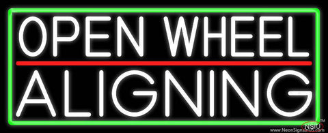 White Open Wheel Aligning With Green Border Real Neon Glass Tube Neon Sign