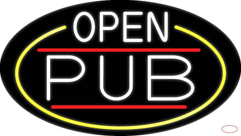 White Open Pub Oval With Yellow Border Real Neon Glass Tube Neon Sign