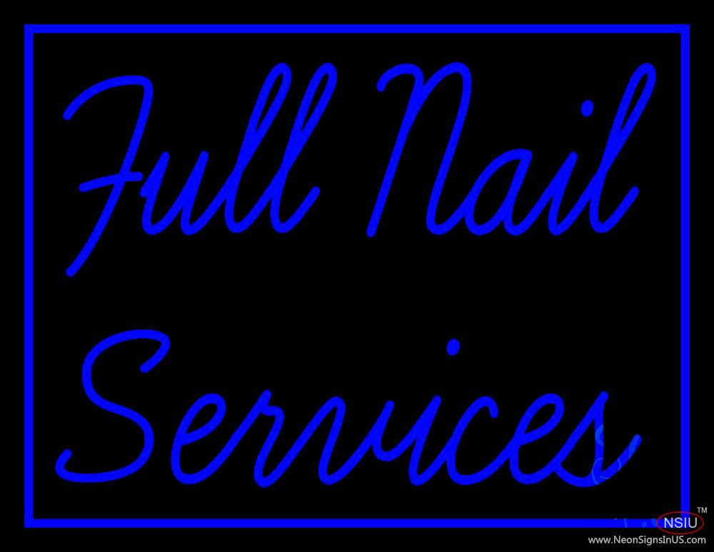 Blue Full Nail Services Real Neon Glass Tube Neon Sign – Custom-Neon ...