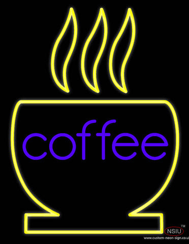 Coffee With Cup Real Neon Glass Tube Neon Sign