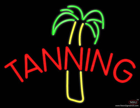 Tanning With Palm Tree Real Neon Glass Tube Neon Sign