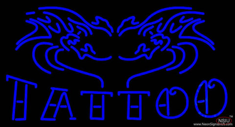 Blue Tattoo Logo Real Neon Glass Tube Neon Sign