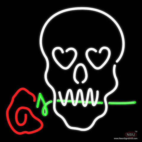 Skull With Rose Real Neon Glass Tube Neon Sign