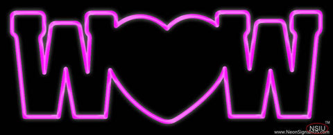 Wow With Heart Real Neon Glass Tube Neon Sign