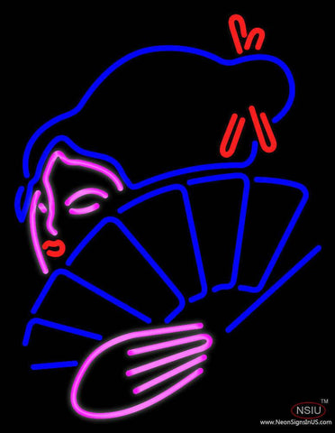 Japanese Girl With Fan Real Neon Glass Tube Neon Sign