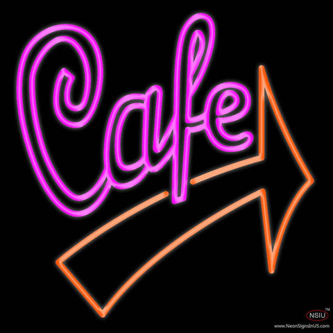 Cafe With Red Arrow Real Neon Glass Tube Neon Sign