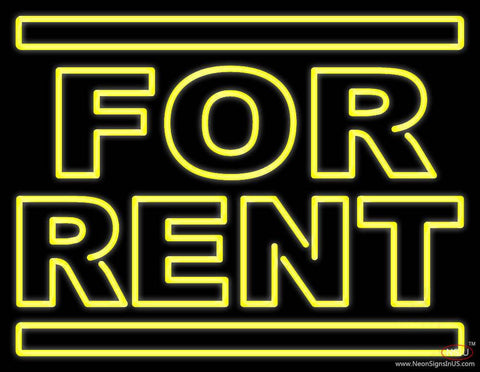 Yellow For Rent Real Neon Glass Tube Neon Sign
