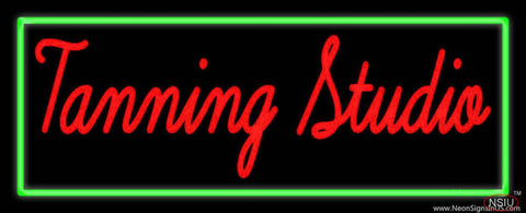 Tanning Studio With Green Border Real Neon Glass Tube Neon Sign