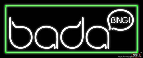 Bada Bing Strip Club With Green Border Real Neon Glass Tube Neon Sign