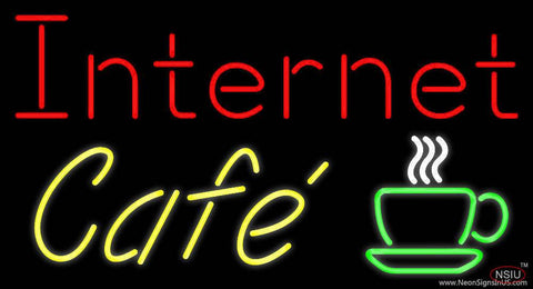 Internet Cafe With Coffee Cup Real Neon Glass Tube Neon Sign