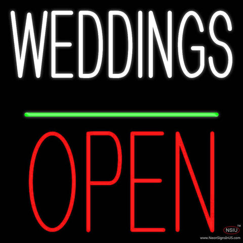 Weddings Block Open Green Line Real Neon Glass Tube Neon Sign