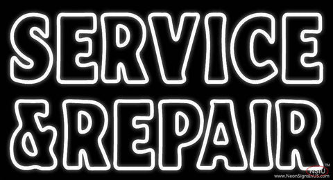 White Double Stroke Service And Repair Real Neon Glass Tube Neon Sign