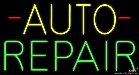 Yellow Auto Green Repair Block Real Neon Glass Tube Neon Sign
