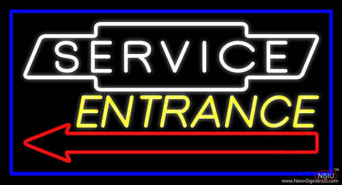 White Service Yellow Entrance With Blue Border Real Neon Glass Tube Neon Sign