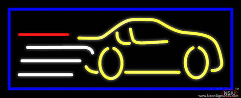 Yellow Car Logo Blue Border Real Neon Glass Tube Neon Sign