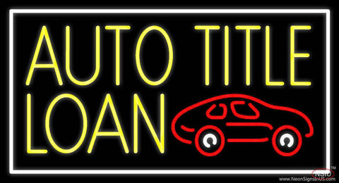 Yellow Auto Title Loans Car Logo  Real Neon Glass Tube Neon Sign