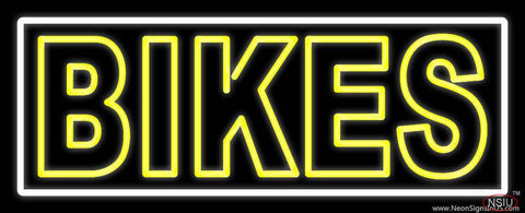 Yellow Double Stroke Bikes Real Neon Glass Tube Neon Sign