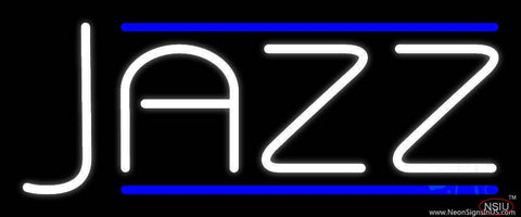 White Jazz Block Double Line Real Neon Glass Tube Neon Sign